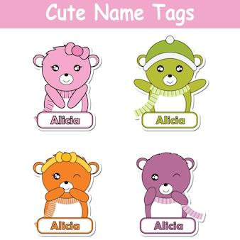 Illustration de bande dessinée vectorielle avec des ours beaux et colorés, adaptés à la conception du jeu d'étiquettes de nom d'enfant, au nom de l'étiquette et à l'ensemble d'autocollants imprimables
