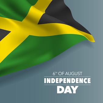 Illustration de bannière de carte de voeux joyeux jour de l'indépendance de la jamaïque