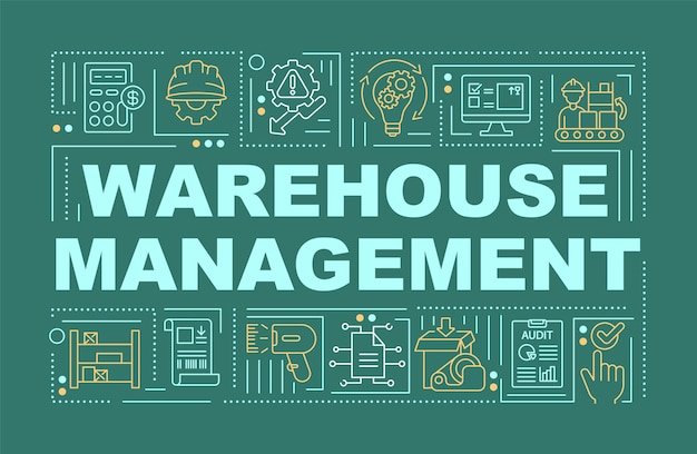 Illustration de bannière de concepts de mot de gestion d'entrepôt