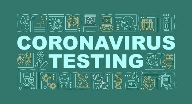 Illustration de bannière de concepts de mot de test de coronavirus