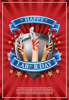 Illustration bannière de la fête du travail. emblème de l'élément sur fond rouge avec des étoiles.mains tenant des instruments comme une vis ou une clé.