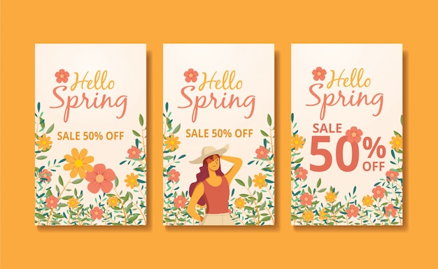 Illustration de bannière de flux et d'histoires de printemps