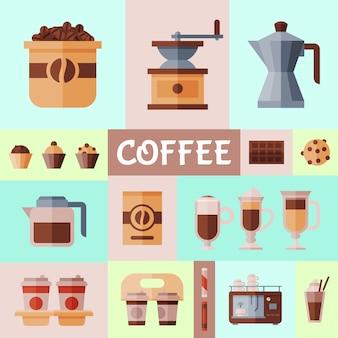 Illustration de bannière de grains de café et d'équipement.
