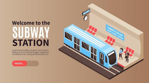 Illustration de bannière horizontale métro isométrique métro