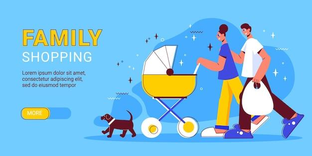 Illustration de bannière horizontale shopping familial