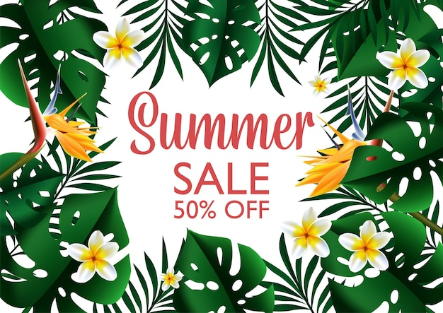 Illustration de bannière de modèle de conception tropicale de vente d'été