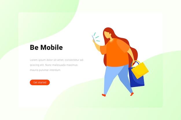 Illustration de bannière de page de destination de style de vie mobile de technologie de médias sociaux