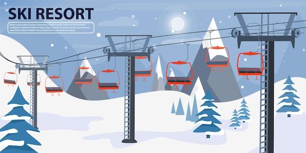 Illustration de bannière de station de ski avec remontée mécanique.