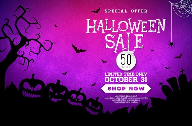 Illustration de bannière de vente d'halloween avec un cimetière de citrouilles effrayant et des chauves-souris volantes sur un violet mystérieux ...