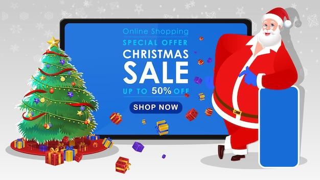Illustration de bannière de vente de noël avec le père noël montrant des cadeaux de noël offrent un téléphone mobile