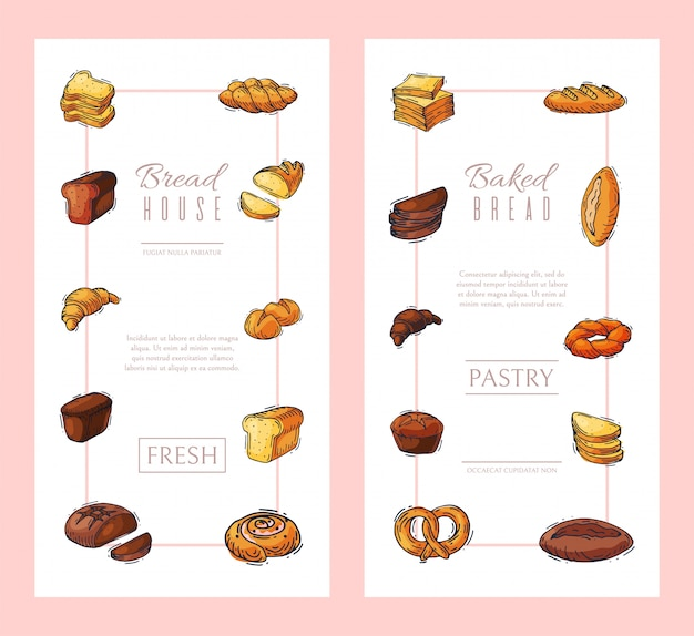 Illustration de bannière verticale de pain frais.