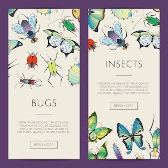 Illustration de bannière web insectes dessinés à la main