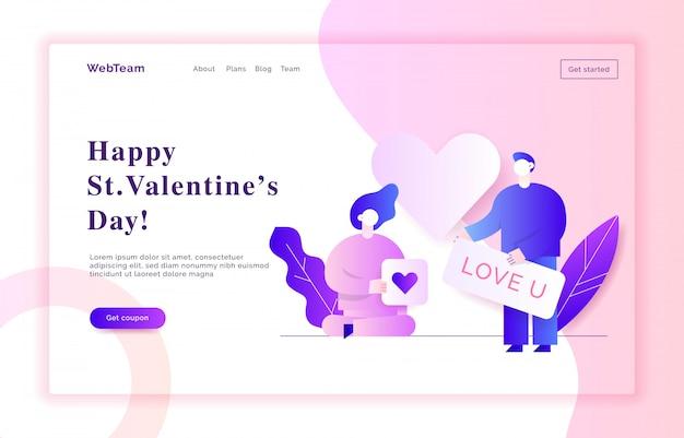 Illustration de bannière web valentin
