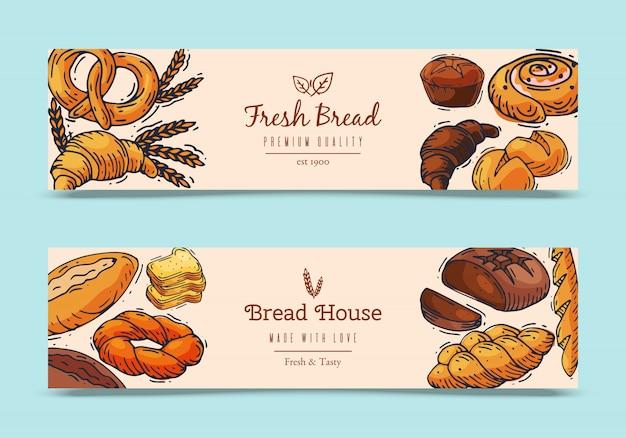 Illustration de bannières de pain frais.