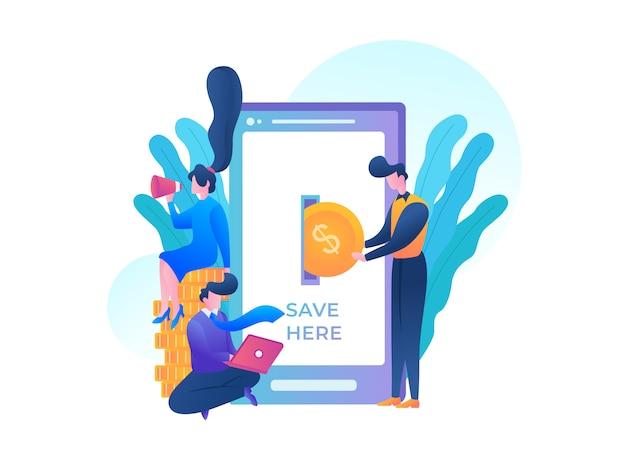 Illustration de la banque mobile et de la monnaie électronique