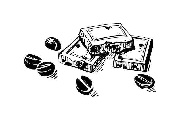 Illustration de barre de chocolat dessinée à la main dans un style de croquis