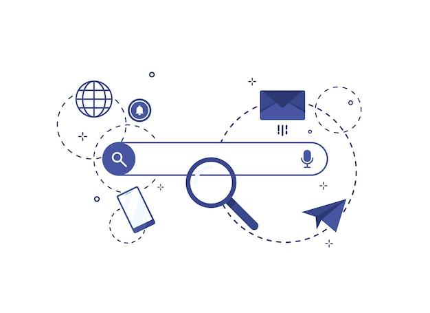 Illustration de la barre de recherche au design plat