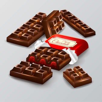 Illustration de barres de chocolat réaliste