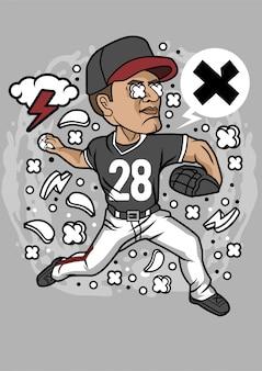 Illustration de baseball lanceur