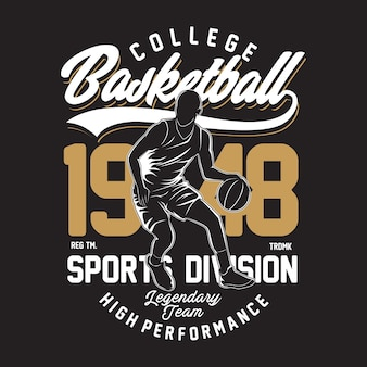 Illustration de basket-ball universitaire au design plat
