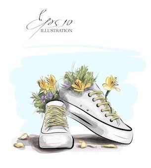 Illustration de baskets avec des fleurs et des feuilles