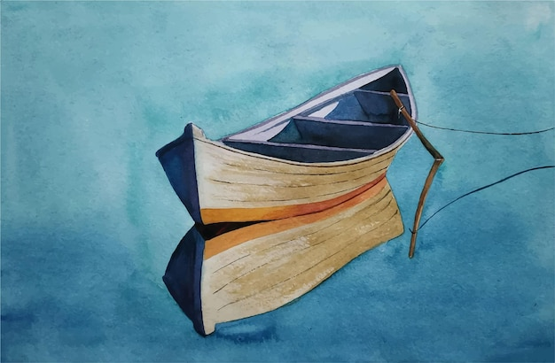 Illustration de bateau dessiné à la main aquarelle