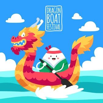 Illustration de bateau dragon de dessin animé
