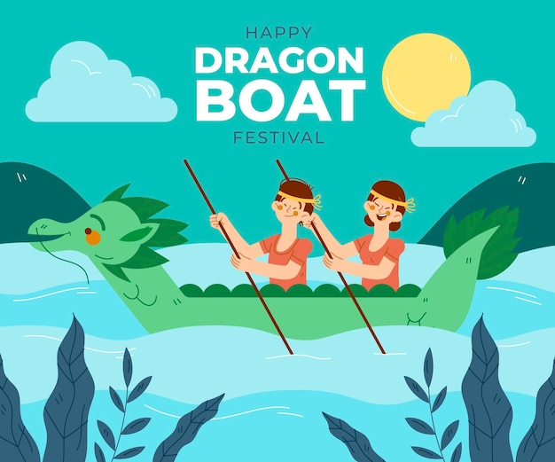 Illustration de bateau dragon dessiné à la main