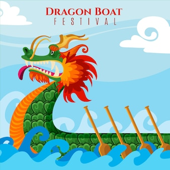 Illustration de bateau dragon plat