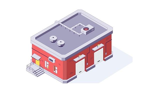 Illustration de bâtiment d'entrepôt de stockage d'entrepôt isométrique