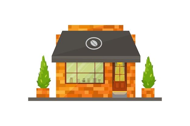 Illustration de bâtiment de magasin. extérieur de café, restaurant ou café, marché.