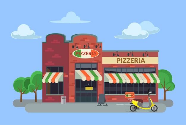 Illustration de bâtiment de pizzeria de dessin animé