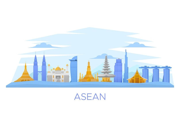 Illustration De Bâtiments Asean Vecteur gratuit