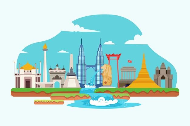 Illustration de bâtiments asean