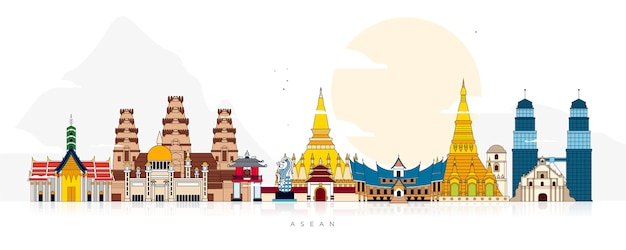 Illustration de bâtiments asean