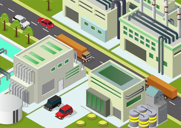 Illustration bâtiments industriels isométriques