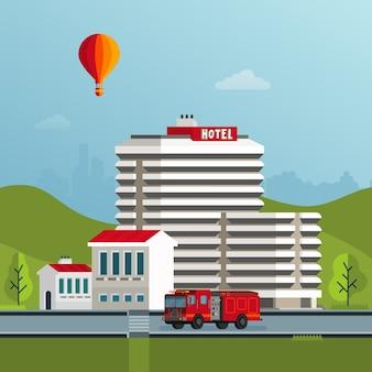 Illustration de bâtiments vector style plat ville
