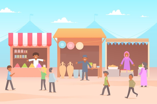 Illustration de bazar arabe design plat