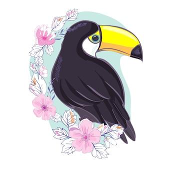 Une illustration d'un beau toucan en format vectoriel. une image mignonne d'oiseau toucan pour l'éducation et l'amusement des enfants en crèche et à l'école et à des fins de décoration