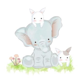 Illustration de bébé éléphant et lapins