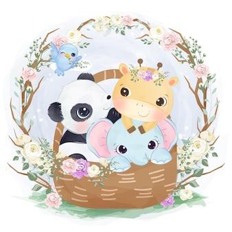 Illustration de bébé mignon animaux jouant ensemble