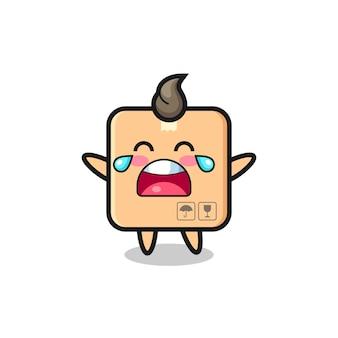 L'illustration de bébé mignon de boîte en carton qui pleure, conception de style mignon pour t-shirt, autocollant, élément de logo