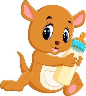 Illustration de bébé mignon kangourou tenant la bouteille de lait
