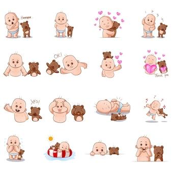 Illustration de bébé mignon et ours en peluche