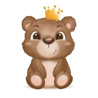 Illustration de bébé ours mignon dessiné à la main