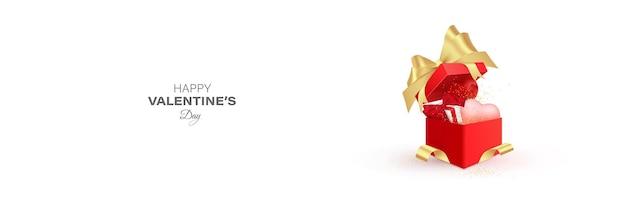 Illustration de bector de boîte-cadeau de saint valentin. illustration de boîte cadeau ouverte rouge.