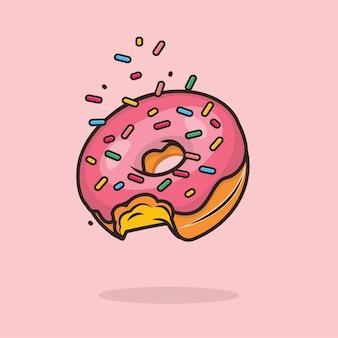 Illustration de beignet mignon kawaii