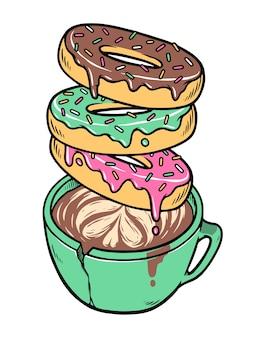 Illustration de beignets et café