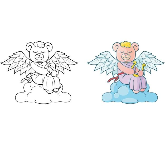 Illustration de bel ange ours en peluche
