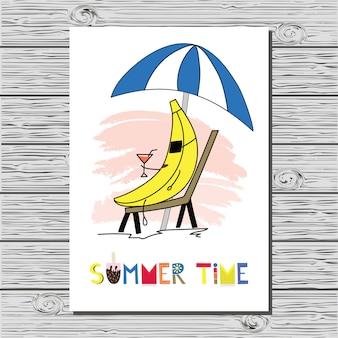 Illustration bel été avec banane et texte écrit à la main.